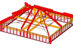 Roof frame axial forces