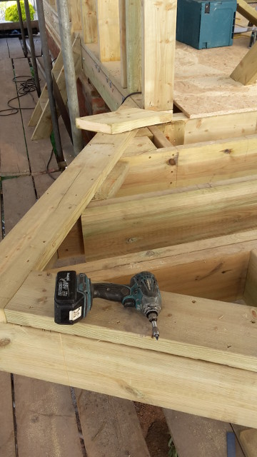 New joists forming a cantilever